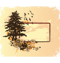 Vintage floral frame with tree vector