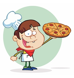 Boy chef showing a delicious pizza vector