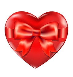 Heart with red bow vector