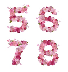 Spring font from cherry flowers figures 5678 vector