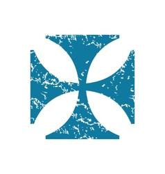 Grunge maltese cross icon vector