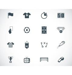 Black soccer icons set vector