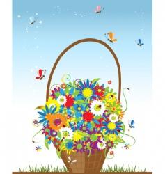 Flower basket vector