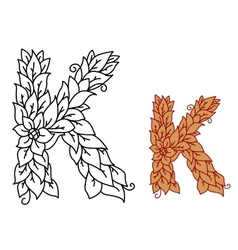 Floral and foliate font letter k vector