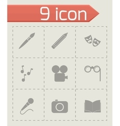 Black art icon set vector