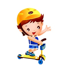 Boy on push scooter vector