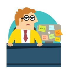 Worried angry office worker at the desk vector