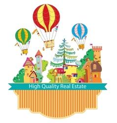 City town with hot air balloon card vector