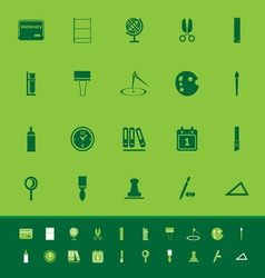 General stationary color icons on green background vector