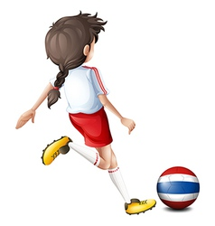 A female soccer player from thailand vector