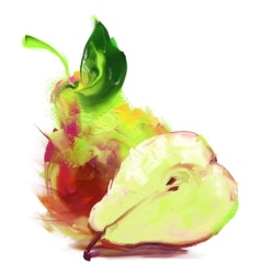 Drawing pear with a slice vector