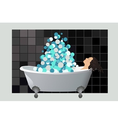 Girl in a foam bath vector