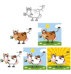 Cow with flower in mouth collection vector