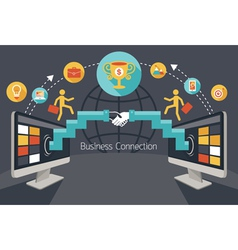 Online connection concept shake hands achievement vector