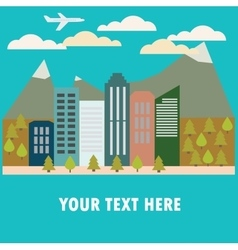 View of the city in style flat vector