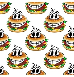 Crazy fast food cheeseburgers seamless pattern vector