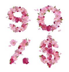 Spring font from cherry flowers figures and signs vector