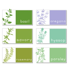 Titled stickers with herbs vector