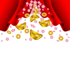 Sakura blossom and gold ingot fall from red vector