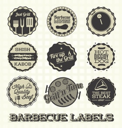 Vintage bbq labels and icons vector
