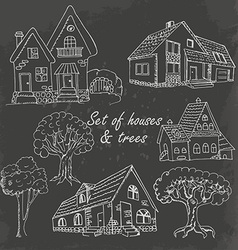 Set of houses and trees on black vector