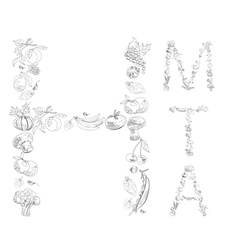 Decorative font with fruit and vegetable letter m vector