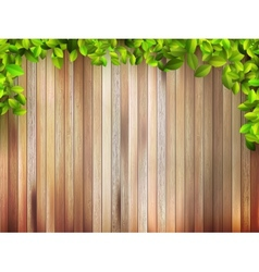 Grunge wood texture with leaves  eps10 vector
