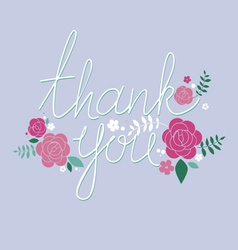 Thank you design with roses vector