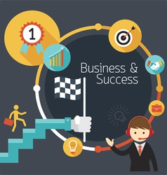 Business concept stairway to success frame vector
