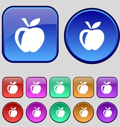 Apple icon sign a set of twelve vintage buttons vector