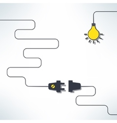 Wire plug and socket with light bulb vector
