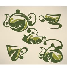 Herbal tea symbols collection vector