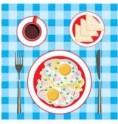 Fried eggs in a plate coffee and bread vector