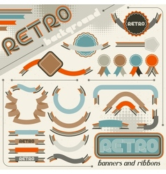 Collection of labels and ribbons in retro vintage vector