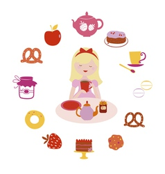Tea and sweets time vector