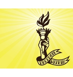 Freedom tattoo design hand holding flaming torch vector