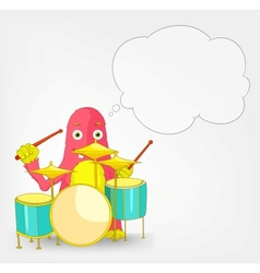Funny monster drummer vector