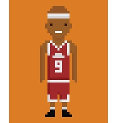 Pixel art style young black man basketball player vector