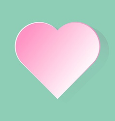 Pink heart with long shadow in green background vector