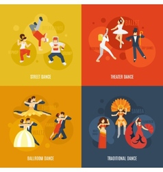 Dance flat set vector