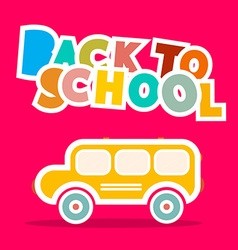 Back to school bus - paper on pink backgroun vector