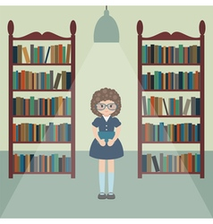 Girl in library vector