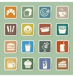 Fast food sticker icon set vector