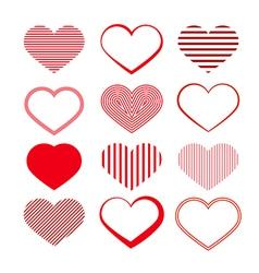 Heart set red valentine symbols vector