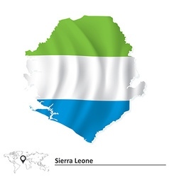 Map of sierra leone with flag vector