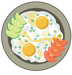 Fried eggs with vegetables vector