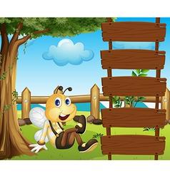 Cartoon bee ladder vector