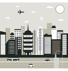 City in black and white vector