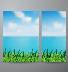 Field of green grass and beautiful sea view vector