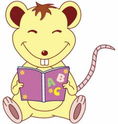 Mouse read book vector